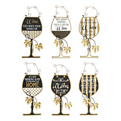 Black and Gold Wine Wooden Plaques