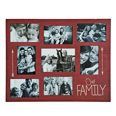 Red Our Family 8-Opening Collage Frame