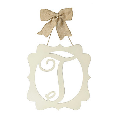 Scalloped Cream Monogram T Wall Plaque