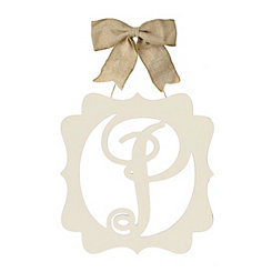 Scalloped Cream Monogram P Wall Plaque