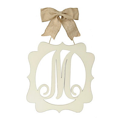 Scalloped Cream Monogram M Wall Plaque