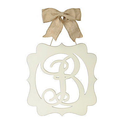 Scalloped Cream Monogram B Wall Plaque