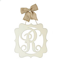 Scalloped Cream Monogram R Wall Plaque