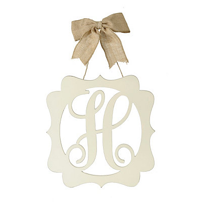 Scalloped Cream Monogram H Wall Plaque