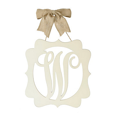 Scalloped Cream Monogram W Wall Plaque