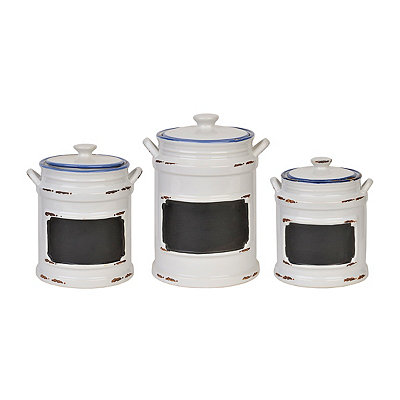 Vintage White & Blue Chalkboard Canister, Set of 3