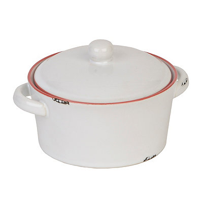 Vintage White & Red Covered Casserole Dish