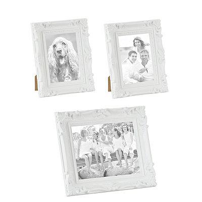 Ornate White Picture Frames, Set of 3