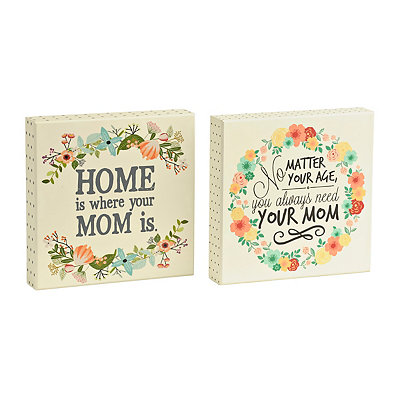 Mom Floral Wreath Wooden Plaques