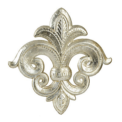 Antique Silver Fleur-de-Lis Metal Plaque