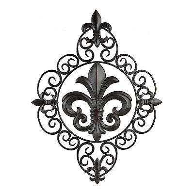 Ornate Fleur-de-Lis Metal Plaque
