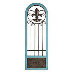Turquoise Fleur-de-Lis Gate Wooden Plaque