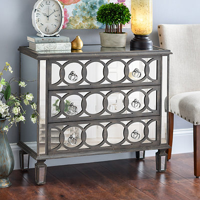 Olivia Circles Mirrored 3-Drawer Chest
