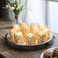 Gold Mercury Glass Votive Holders, Set of 12