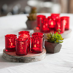 Red Mercury Glass Votive Holders, Set of 12