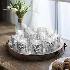 Silver Mercury Glass Votive Holders, Set of 12