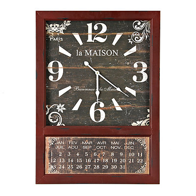 Distressed Red Calendar Clock