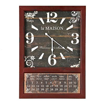 Distressed Red Calendar Clock