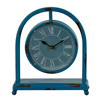 Distressed Blue Colorburst Desktop Clock