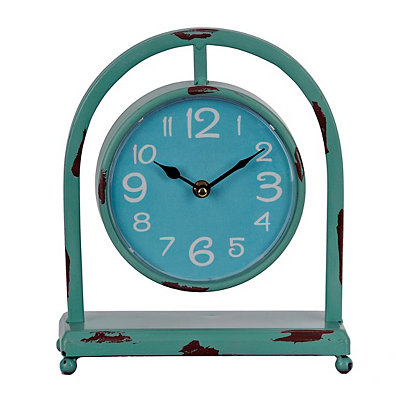 Distressed Aqua Colorburst Desktop Clock