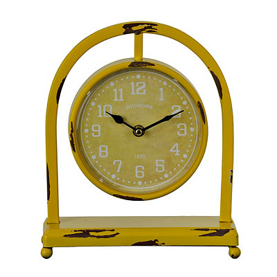 Distressed Yellow Colorburst Desktop Clock