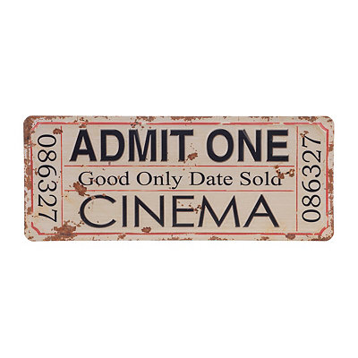 Cinema Ticket Stub Metal Plaque
