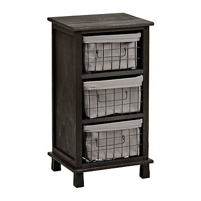 Distressed Black 3-Wire Basket Cabinet