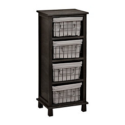 Distressed Black 4-Wire Basket Cabinet