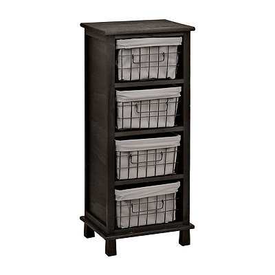 Distressed Black 4-Wire Basket Cabinet
