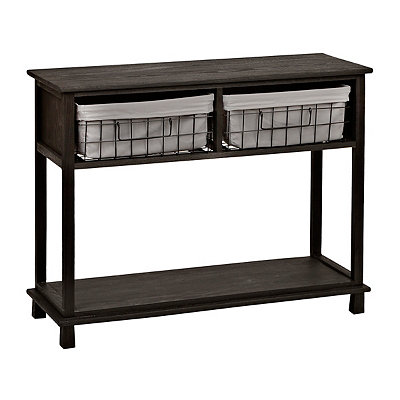 Distressed Black 2-Wire Basket Console Table
