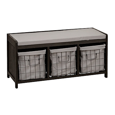 Distressed Black 3-Wire Basket Storage Bench