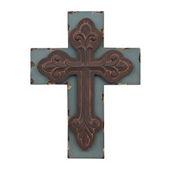 Distressed Blue Rustic Cross