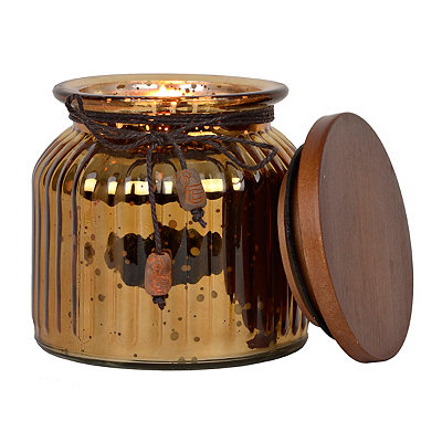 Ribbed Copper Mercury Glass Scented Candle
