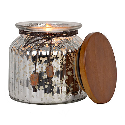 Ribbed Silver Mercury Glass Scented Candle