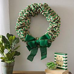 Green Chevron Burlap Wreath