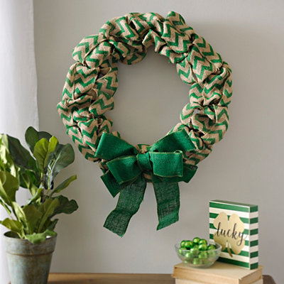 Green Chevron Burlap Wreath