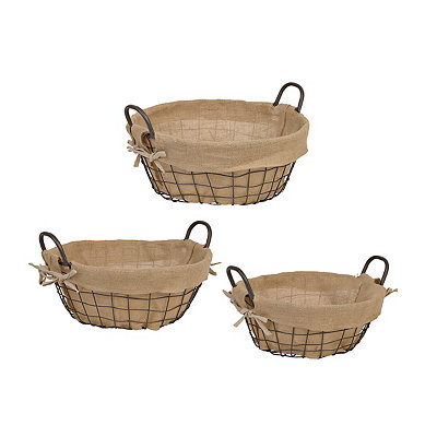 Round Farmhouse Wire Baskets, Set of 3