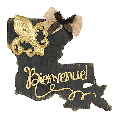 Black and Gold Bienvenue Louisiana Plaque