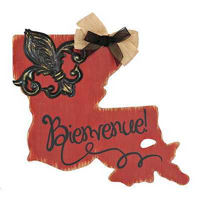 Red and Black Bienvenue Louisiana Plaque