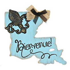 Turquoise and Black Bienvenue Louisiana Plaque