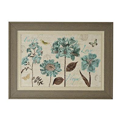 Slate Blue Vintage Floral Framed Art Print