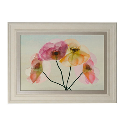 Pink X-Ray Floral Framed Art Print