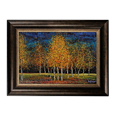 Birches on Blue Framed Art Print