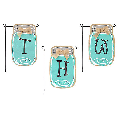 Turquoise Mason Jar Monogram Flag Set