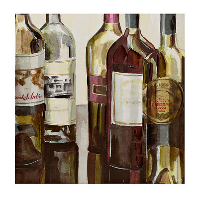 Wine Bottles Canvas Art Print, 30x30