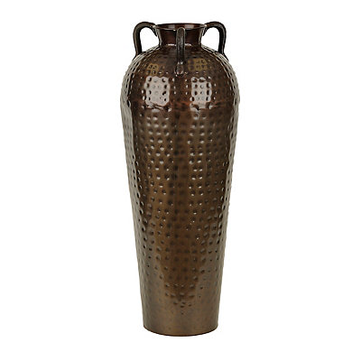 Hammered Dark Copper Floor Vase