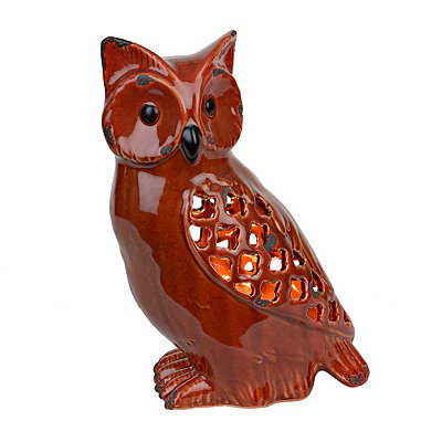 Red Sitting Owl Night Light