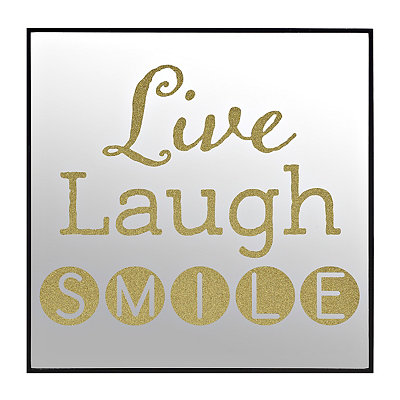Gold Glitter Live Laugh Smile Mirror Plaque