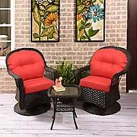 Savannah Brown Wicker Gliders & Table, Set of 3