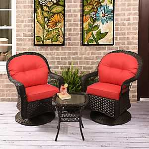 Savannah Brown Wicker Gliders & Table, Set of 3